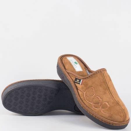 Дамски кафяви домашни чехли- Spesita на шито ходило danitak