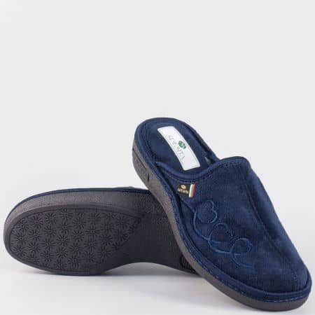 Дамски шити домашни пантофина платформа- Spesita в син цвят danitas