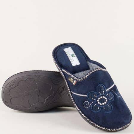 Домашнидамски пантофи в тъмно син цвят на равно ходило ezriats