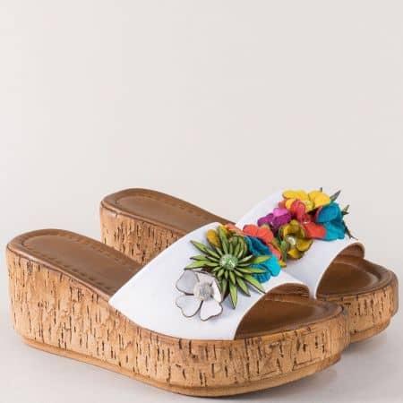 Пъстри дамски чехли на платформа от естествена кожа f11bps
