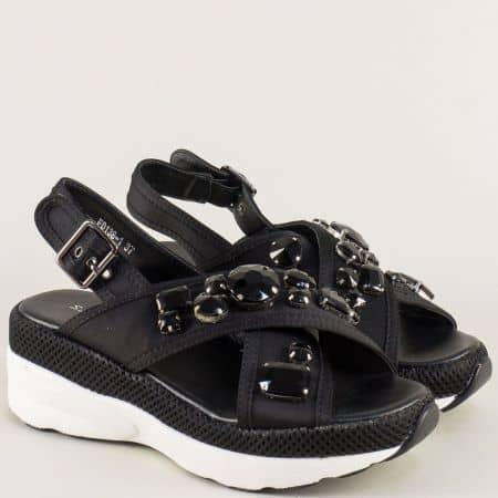 Черни дамски сандали с камъчета на комфортна платформа fd138ch
