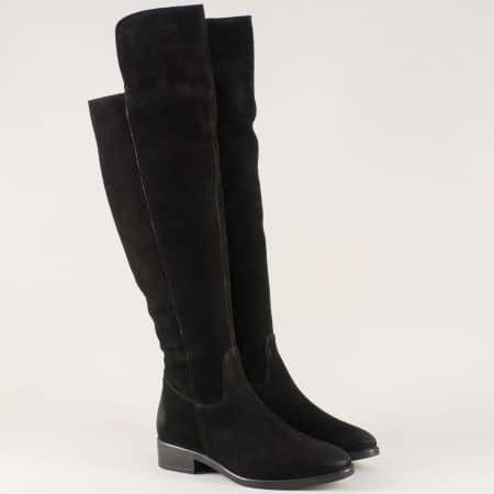Велурени дамски ботуши в черно на нисък ток g1gittavch