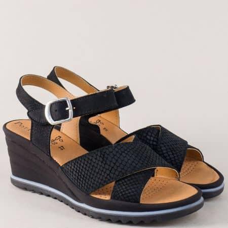 Португалски дамски сандали на клин ходило в черен цвят helena01ch