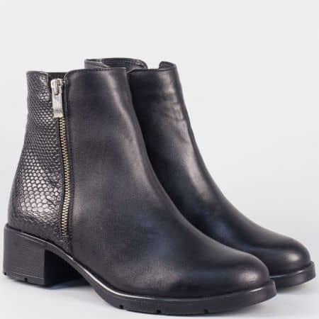 Дамски боти от естествена кожа в черен цвят на нисък ток irma952zch
