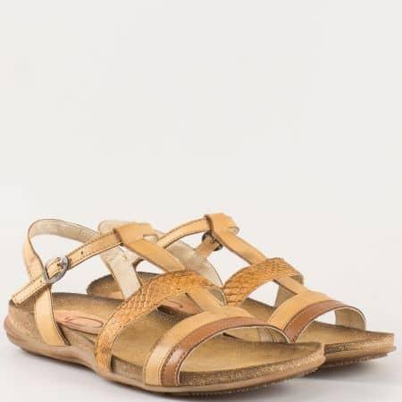 Дамски сандали за всеки ден изработени от 100% естествена кожа на български производител в бежово и кафяво j1248bjk