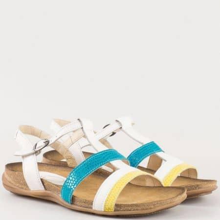 Дамски сандали с атрактивна младежка визия изработени от изцяло естествена кожа, включително и меката стелка на български производител в синьо,бяло и жълто j1248bs