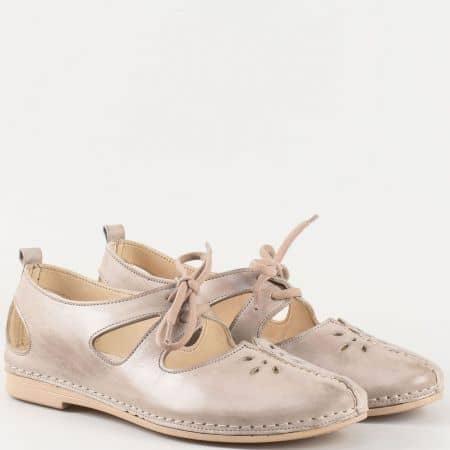 Дамски удобни обувки за всеки ден изработени от изцяло естествена кожа в сив цвят k1123sv