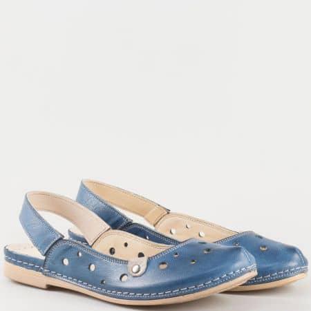Дамски изчистени сандали на комфортно ходило изцяло от естествена кожа, включително стелката в син цвят- Karyoka k1135s