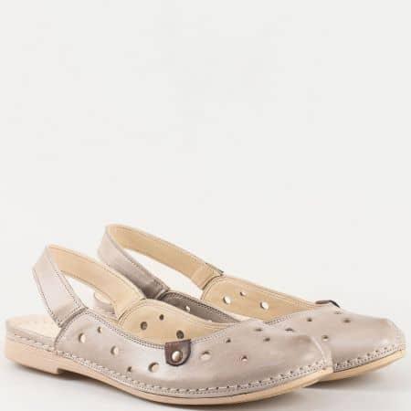 Дамски ежедневни сандали със семпла визия произведени то изцяло естествена кожа в сив цвят k1135sv