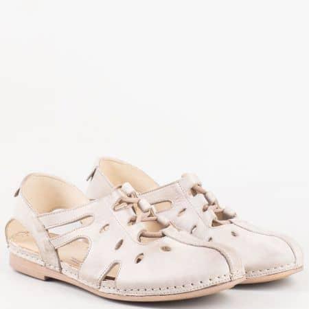 Сиви дамски обувки от естествена кожа с прорези и ластични връзки- Karyoka  k1138sv