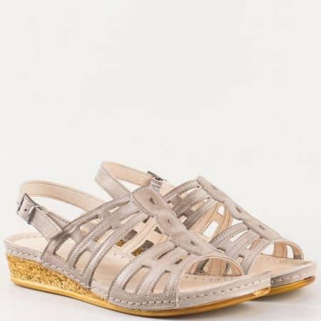 Дамски ежедневни сандали на шито клин ходило изцяло от естествена кожа- Karyoka в сив цвят  k1385sv