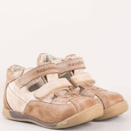 Детски летни обувки произведени от изцяло естествена кожа на български производител в кафяво k15k
