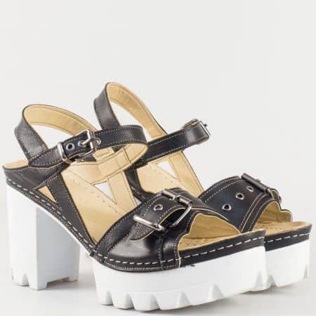 Дамски атрактивни сандали на висок ток- Karyoka от естествена кожа в черен цвят с две функциониращи катарами  k1840ch
