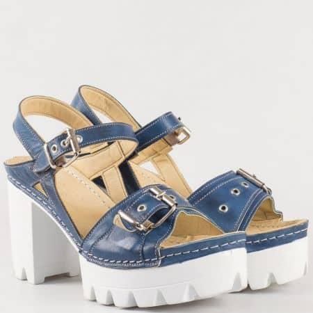 Дамски стилни сандали изработени от 100% естествена кожа в син цвят k1840s