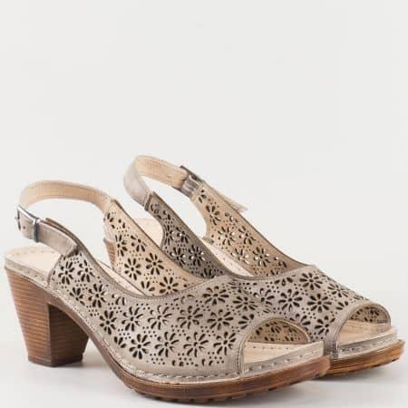 Дамски сиви сандали произведени от изцяло естествена кожа с перфорация- Karyoka   k1877sv