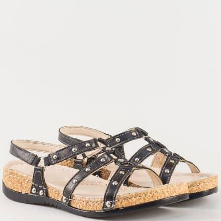 Дамски комфортни сандали изработени от изцяло естествена кожа в черен цвят k213ch