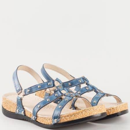Дамски ежедневни сандали- Karyoka изработени от изцяло естествена кожа с капси в син цвят  k213s