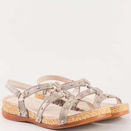 Дамски удобни сандали на комфортно ходило- Karyoka  изработени от 100% естествена кожа в сив цвят k213sv