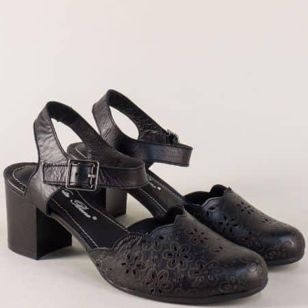 Черни дамски сандали със затворени пръсти на ток ketrin1075ch