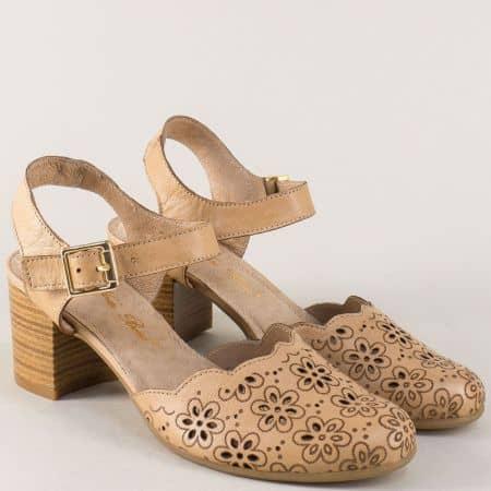 Български дамски сандали от кафява естествена кожа ketrin1075k