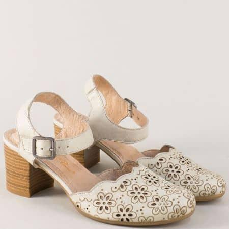 Бежови дамски сандали на български производител от естествена кожа на среден ток ketrin1075mb