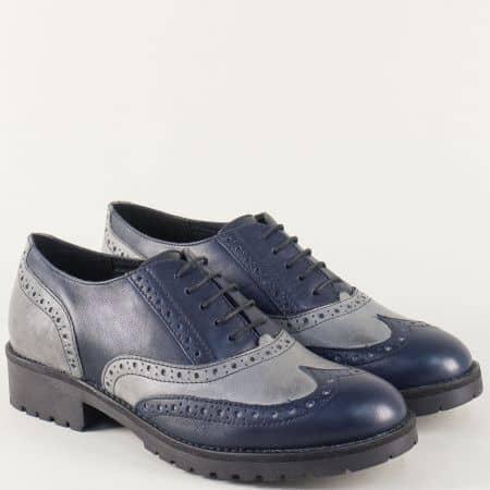 Български дамски обувки от естествена кожа в сиво и синьо l017172ssv