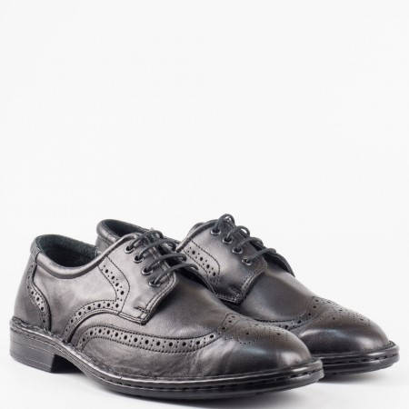 Мъжки комфортни обувки от естествена кожа в черен цвят l1910ch