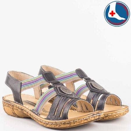 Анатомични дамски сандали с пъстри ластици- loretta от черна естествена кожа l5046ch
