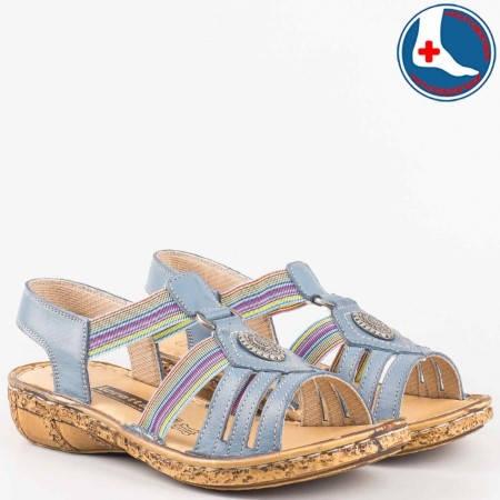 Комфортни дамски сандали- loretta от синя естествена кожа и пъстри ластици l5046s