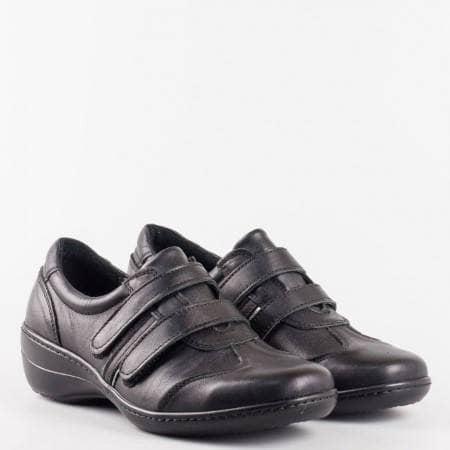 Черни спортни дамски обувки с 2 лепки от естествена кожа и ортопедична стелка l816ch