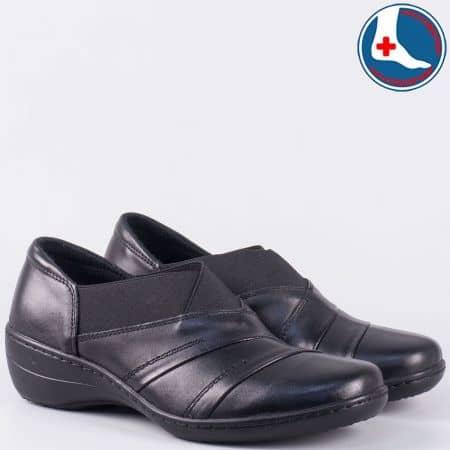 Ежедневни дамски обувки от естествена кожа в черно l5220ch