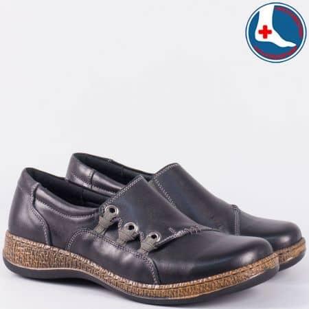 Черни дамски обувки Loretta от естествена кожа с шито ходило l5440ch