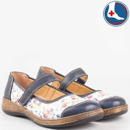 Пъстри ортопедични дамски обувки с лепка- Loretta от естествена кожа l5504s