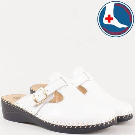 Дамски бели чехли на шито ортопедично ходило- Loretta от естествена кожа изцяло l5575b