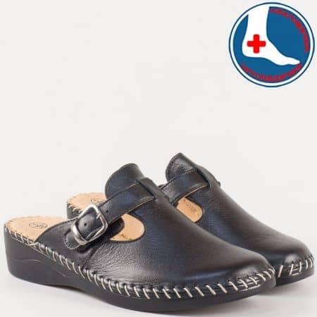 Дамски шити чехли с кожена ортопедична стелка от естествена кожа в черен цвят l5575ch