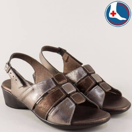 Бронзови дамски сандали от естествена кожа- Loretta  l5586bz