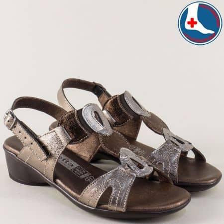 Ортопедични дамски сандали на среден ток в цвят бронз l5590brz