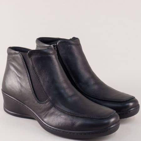 Шити дамски боти на платформа от черна естествена кожа l5652ch