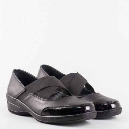 Комфотни и леки дамски обувки с ластици и ортопедична кожена стелка l5684ch