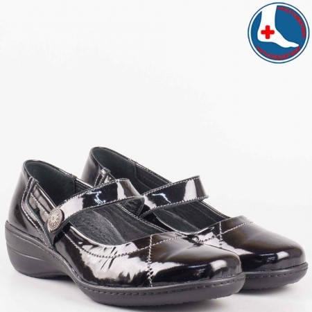 Ортопедични дамски обувки с лепка и кожена стелка- Loretta от естествен лак в черен цвят  l570121lch