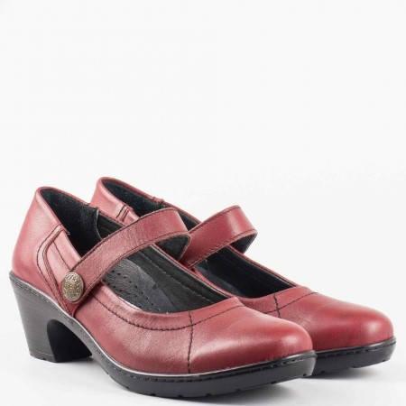 Дамски ежедневни обувки на комфортно ходило от висококачествена естествена кожа в цвят бордо l5701bd