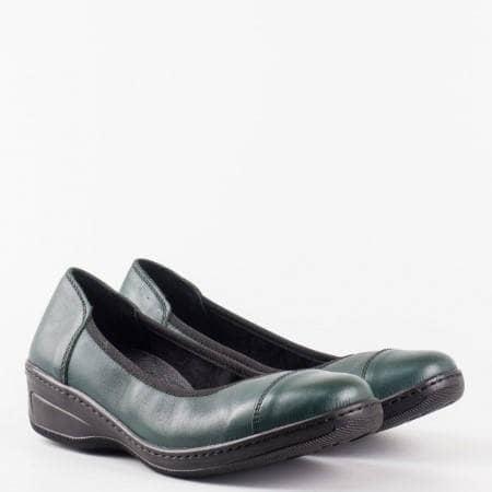 Комфортни ежедневни равни обувки с ортопедична  стелка в зелен цвят l5722z