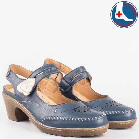 Анатомични дамски обувки на среден ток с лепка- loretta от синя естествена кожа с перфо мотив и отворена пета l5784s