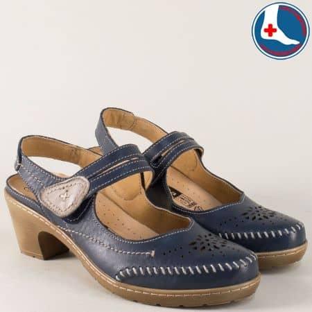 Дамски сандали Loretta в син цвят от естествена кожа на комфортен среден ток  l5784ts