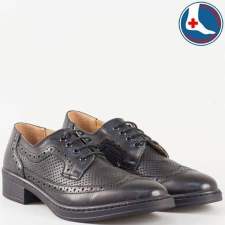 Ръчно изработени дамски обувки изцяло от естествена кожа с ортопедична, вадеща се стелка в черен цвят- Loretta l5785ch