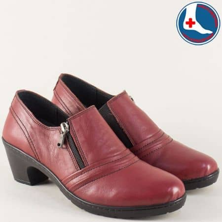 Кожени дамски обувки на среден ток в цвят бордо l5787bd
