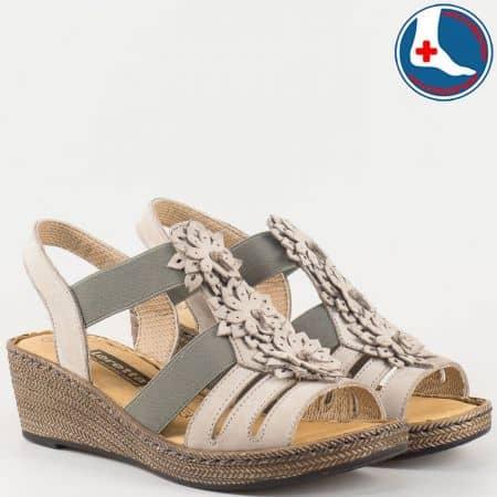 Сиви дамски сандали на шито клин ходило с ортопедична стелка- Loretta от естествена кожа изцяло l5810nsv