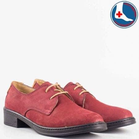 Дамски комфортни обувки изработени от 100% естествен набук в цвят бордо l5813vbd