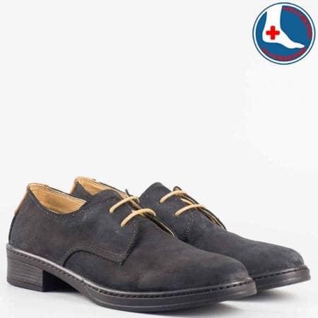 Дамски комфортни обувки със сая от висококачествен естествен набук с естествена кожена стелка в черен цвят l5813vch