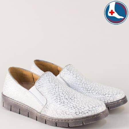 Сребристи дамски обувки с кожена ортопедична стелка l6016sr